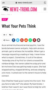 Animal Intuitive, Animal Communicator, & Psychic Medium Nancy Mello blogs about how your pets feel.