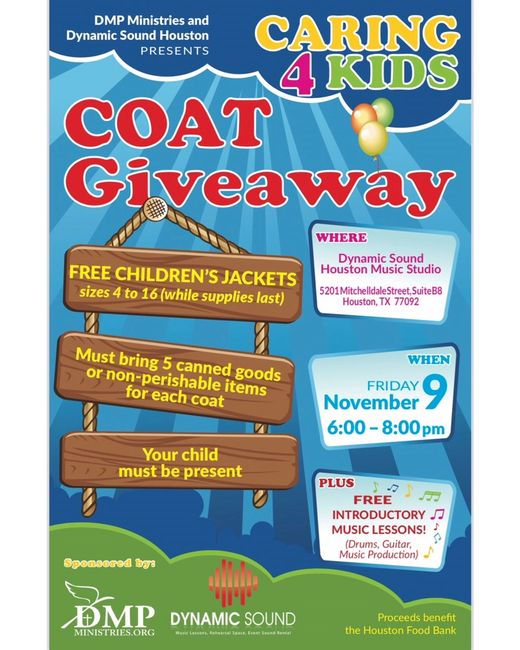 DMP Ministries & Dynamic Sound Houston Caring 4 Kids Coat Giveaway Flyer