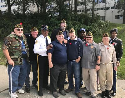 Commander Tom with some of his fellow VFW Post 170 members at the 2018 Veterans Parade.