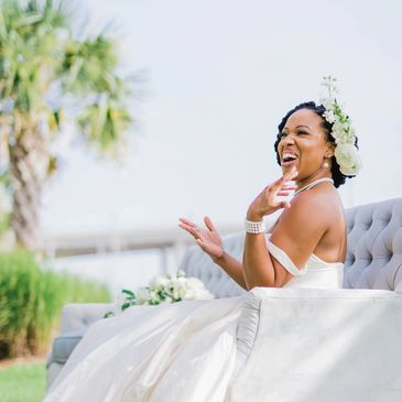 Outdoor weddings near the yacht club makes you smile like this bride.