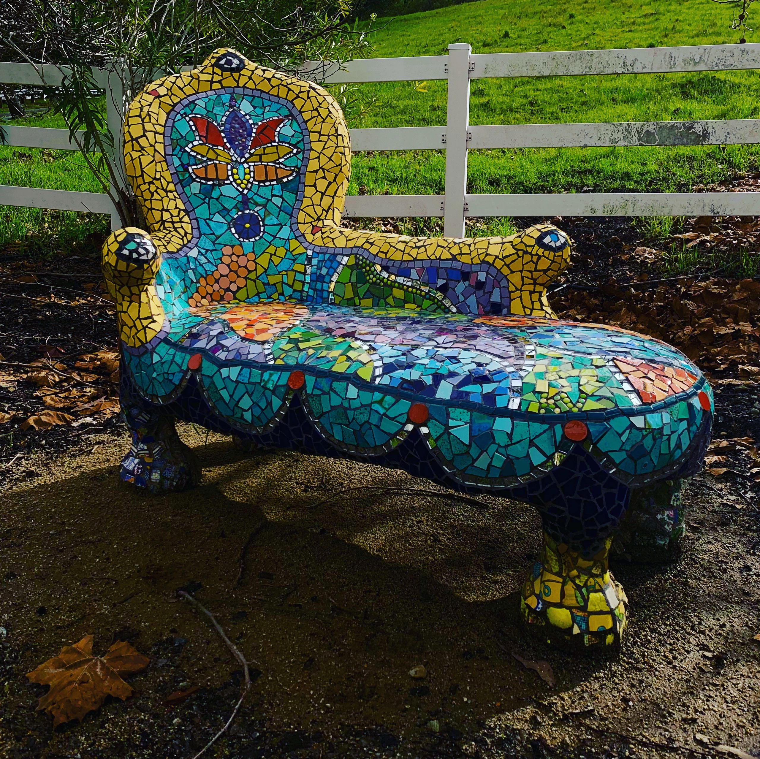 Mosaic Chaise - Created in 2019 from an antique fainting chair imported from Italy in 1960's.
