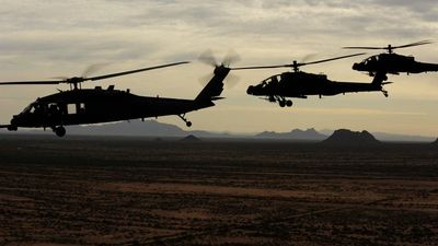 Attack Helicopters over the desert