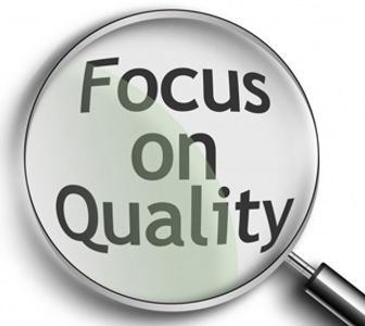 "Picture of magnifying glass over the phase ""focus on quality"".  Quality, test results, cbd testing"