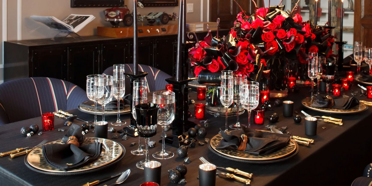 Holiday and special event decorations and florals installed for an intimate dinner.