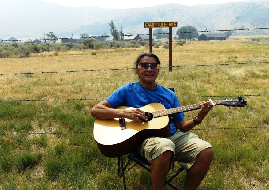 Playing guitar for the souls of Camp Tule Lake the day after the Total Solar Eclipse 2017.