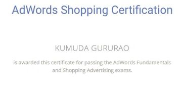 Google Adwords Shopping Certificate