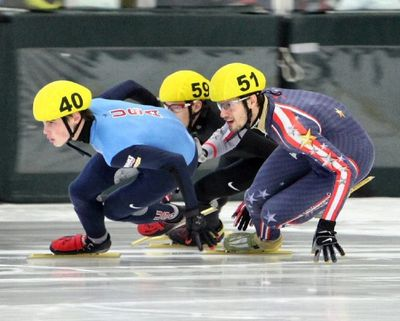 Colorado Gold Speedskating member Alex Hopp (#51) at AmCup short track competition