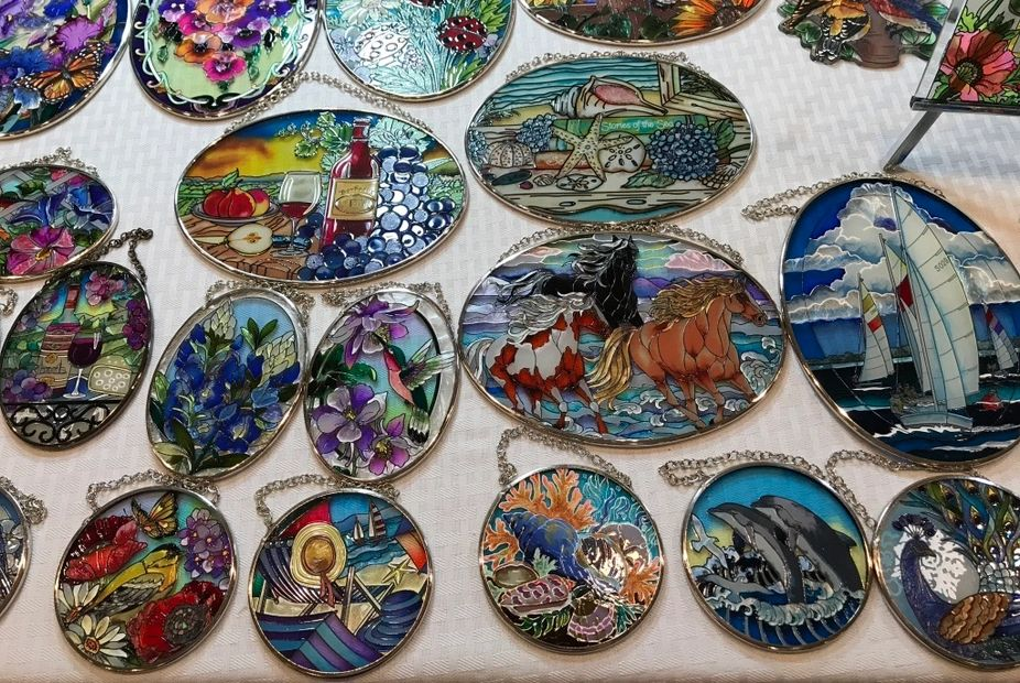 Hand painted glass sun catchers and panels from Kitschy Collectibles home decor.