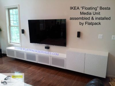 IKEA Besta Media unit assembled and installed by Flatpack Assembly