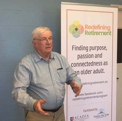 Chris Pelham, facilitator with Redefining Retirement, explains the expected outcomes of the program.