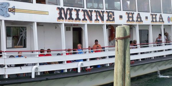 Day Camp trip to Lake George with the camp boarding on the Minne-Ha-Ha for a one hour cruise