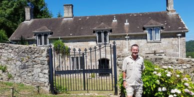 Nigel Marven outside Hole House.