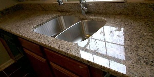 granite countertop with a high gloss shine