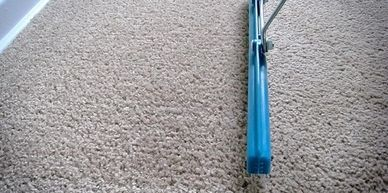 using a carpet rake to groom the nap of the carpet after a cleaning