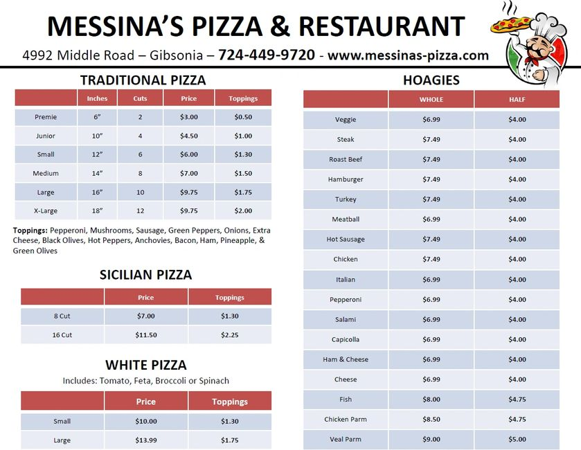 Messina's Pizza Menu