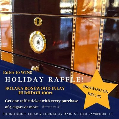 Holiday raffle of the beautiful humidor! Stop in at Bongo Ron's today!!