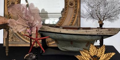 Antique French Louis Style Mirror, Vintage Pond yacht, Italian flower wall light, Sea Fan coral