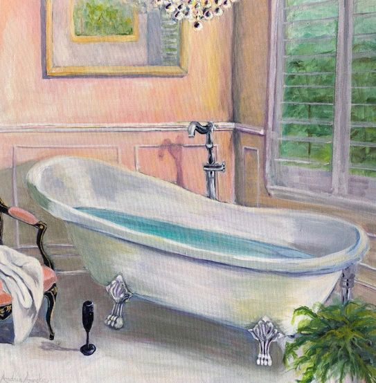 Acrylic painting of bathtub, chair and chandelier