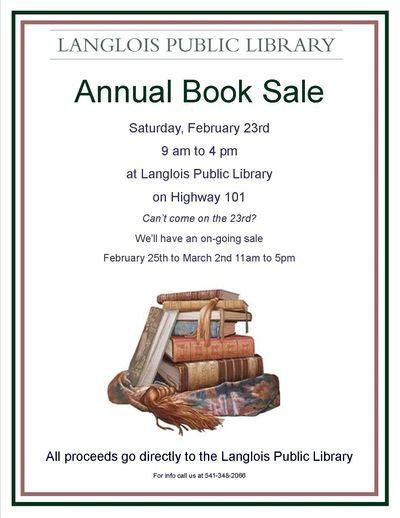 Annual Book Sale Saturday, February 23rd.