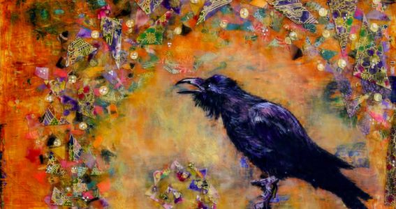"""Raven Communes with the Universe"" Owned by Private Collector"