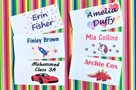 sew on name labels sew on name tags Colour name labels Waterproof name labels School name labels