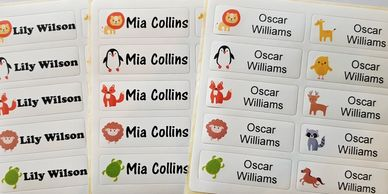 Iron on name labels Iron on name tags Colour name labels Waterproof name labels School name labels