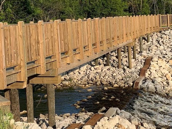 10-ton pile supported timber bridge with clear span Lake County Forest Preserve Picket Handrail