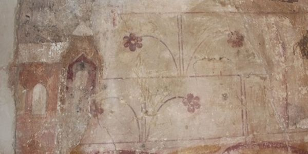 Wall paintings in the nave at All Saints Church, Rampton, Cambridge.