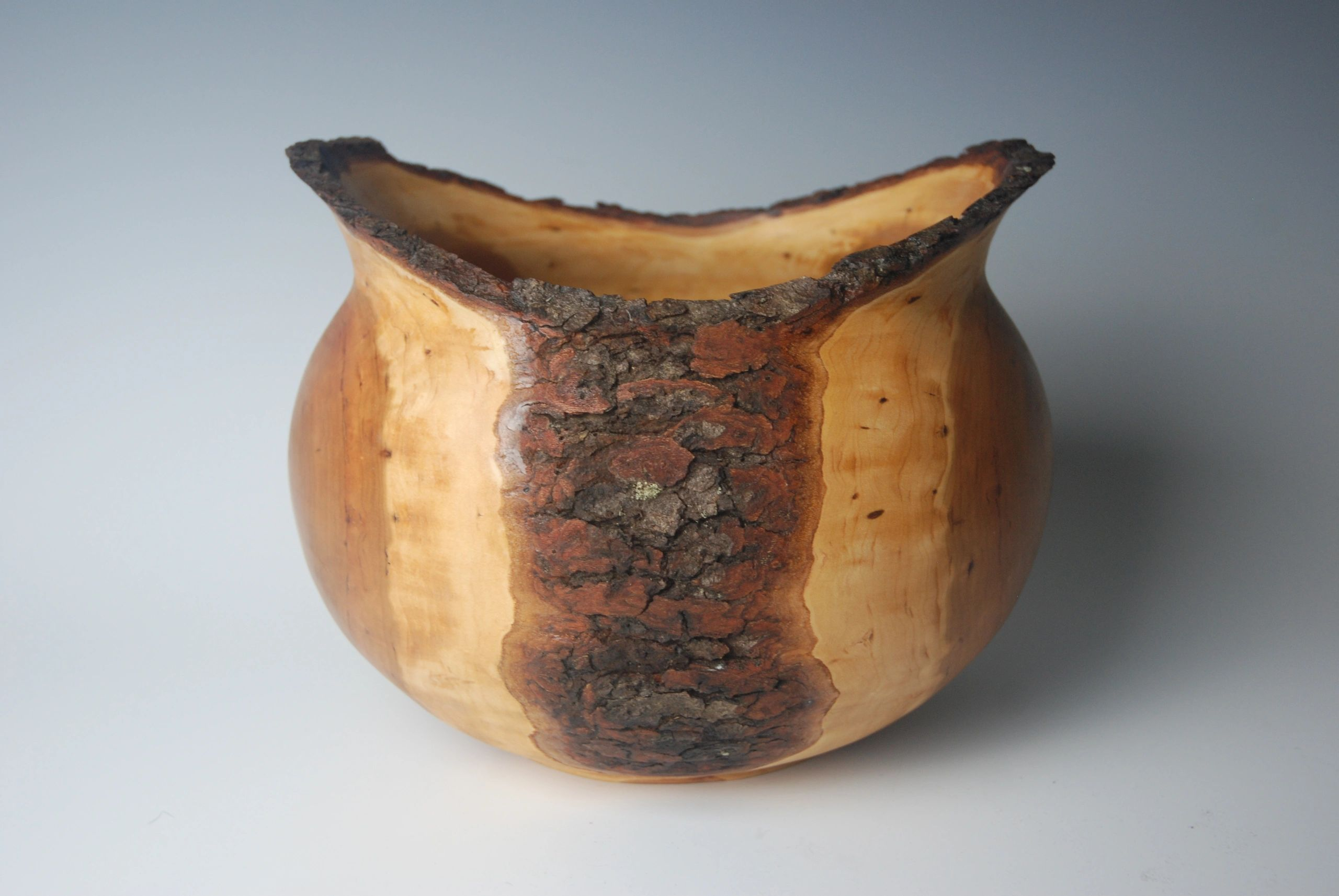 Natural-edge, low-bark, cherry bowl.