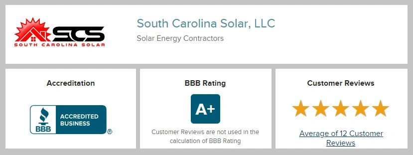 SC SOLAR HAS AN A+ RATING WITH THE BETTER BUSINESS BUREAU