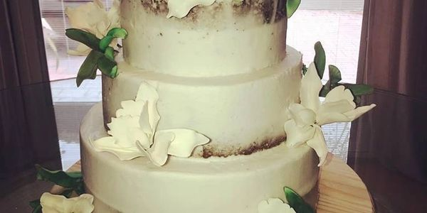 Naked Delicious Cake with Sugar Orchids