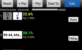 PokerCruncher screenshot showing J6s equity versus other hands.
