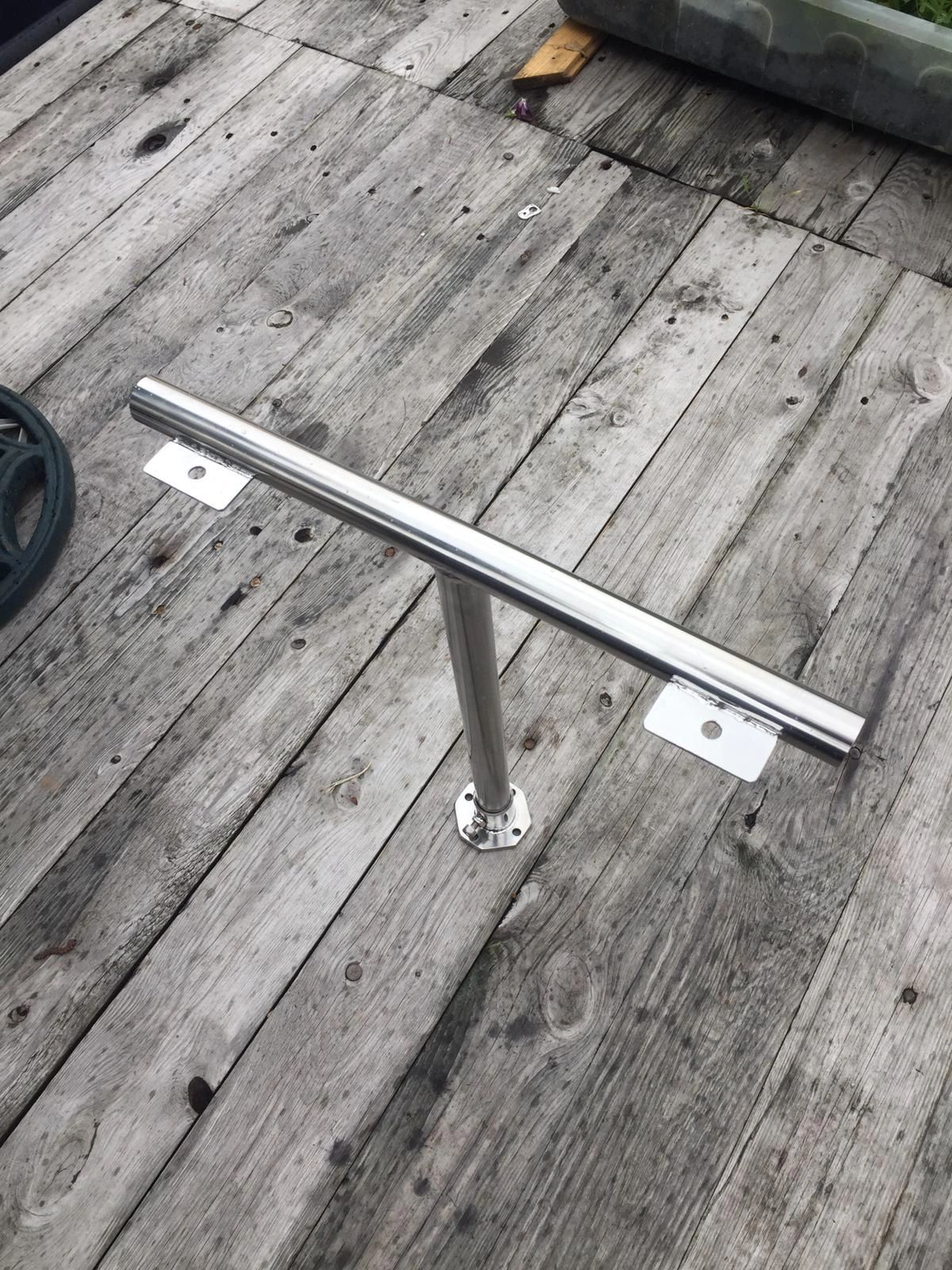 This twin headlight stand in stainless steel for a Narrowboats.