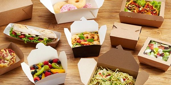 Paper board food cartons for hot and cold food,
