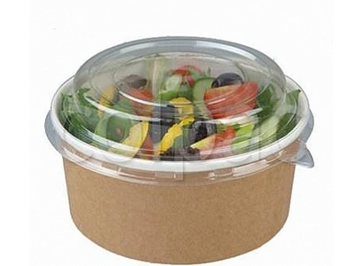 kraft paper bowl with clear RPET lid, bowl suitable for salad, meals as is microwaveable, lid is not