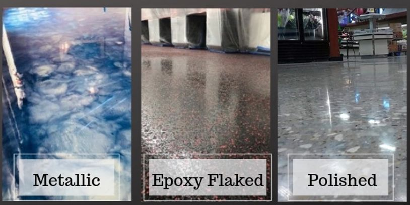 Decorative Concrete Flooring Designs in Metallic, Epoxy Flaked and Polished