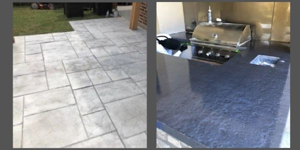 stamped concrete and concrete backyard kitchen