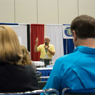A boat show seminar being given by Capt. Kerry Kline talking about where to boat in Central Florida.