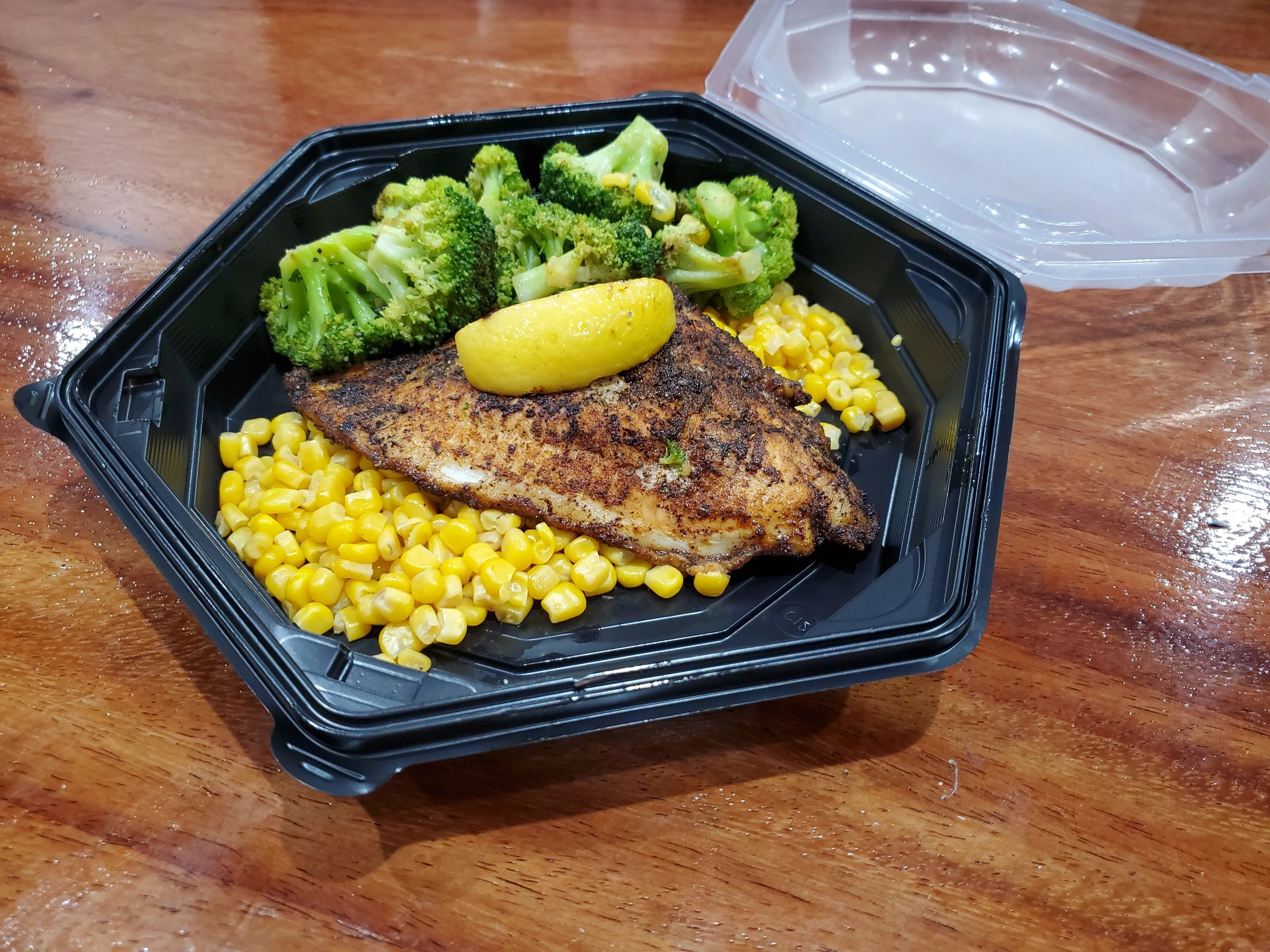Blackened Catfish with Broccoli and Corn