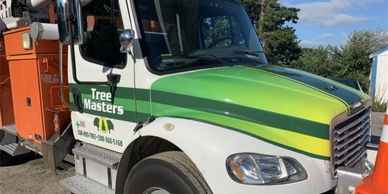 tree masters, partial truck wrap, Truck lettering, tree truck , tree business, company vehicle, company Truck