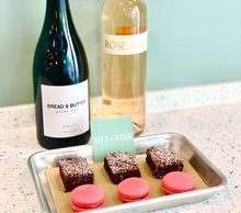 Gifs Night In Kit with Wine and brownies and macarons and treats