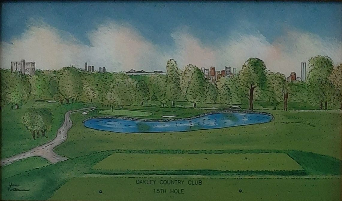 Glass Art Studios portrait of the Oakley Country Club in Watertown Ma