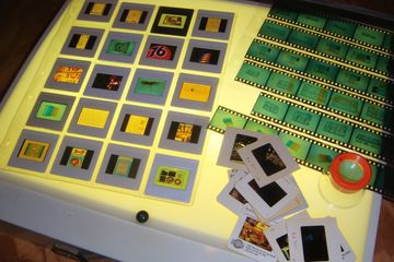 image of photographic slides on a light table