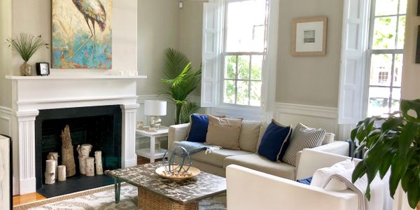 Bespoke Staging transformed this empty space into a cozy coastal living room.