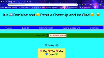 Screenshot of Cheer Ups App website. A happy place where people can share cheer ups.