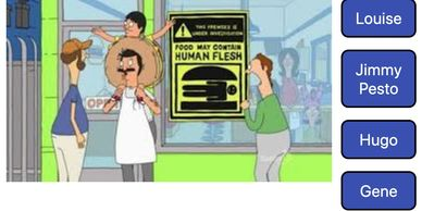 Scene from Bob's Burgers cartoon trivia game site.