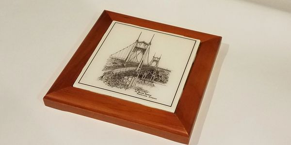 Framed original handmade coaster with solid wood frame