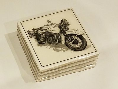 Four piece original pen and ink art handmade coaster set