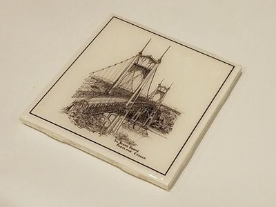 "Handmade 4.25"" square ceramic coaster with original pen and ink art"