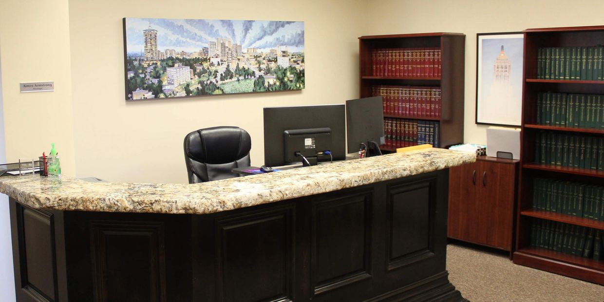 The front desk at the Oxford Lehr Law Office.